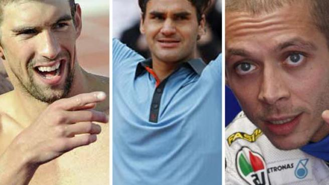 De izquierda a derecha, el nadador Michael Phelps, el tenista Roger Federer y el piloto de motos Valentino Rossi.