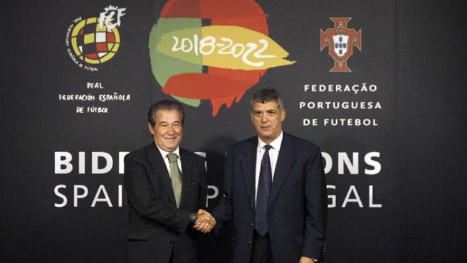 Presentación del logotipo de la candidatura conjunta para el Mundial de fútbol 2018/2022.