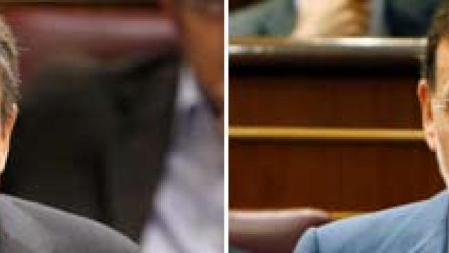 Los dirigentes del PSOE y del PP, José Luis Rodríguez Zapatero y Mariano Rajoy.