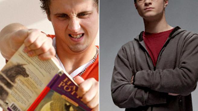 A la izquierda, Harry Potter, el joven inglés que comparte nombre con el popular mago (derecha) rompe un ejemplar de uno de los libros de la saga.