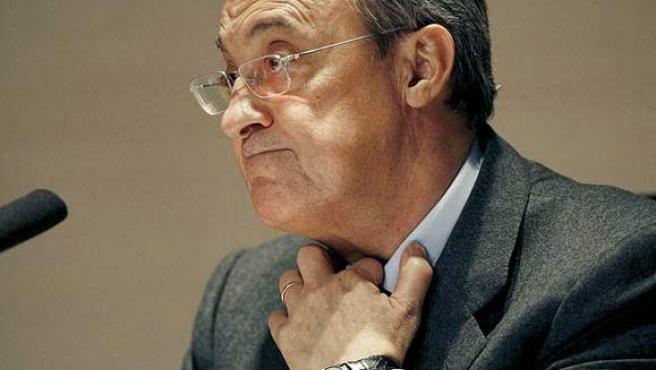 El presidente del Real Madrid, Florentino Pérez, en rueda de prensa.