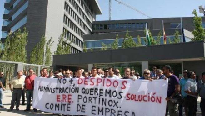 Concentración de trabajadores de Portinox.