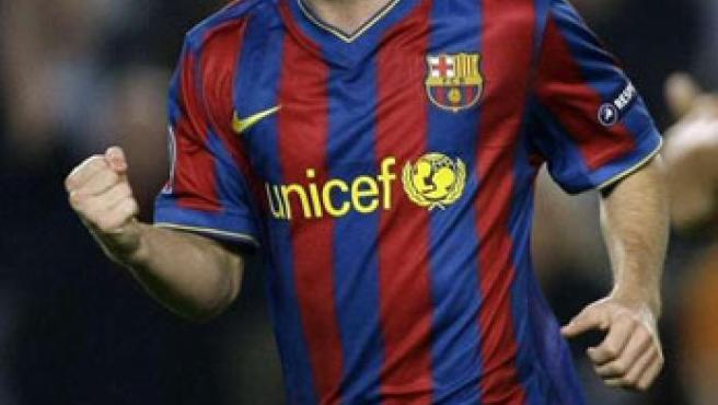 Leo Messi celebra un gol del Barça.