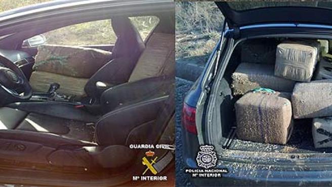 Fardos con hachís que eran transportados por un narcotraficante que intentó huir en Huelva.