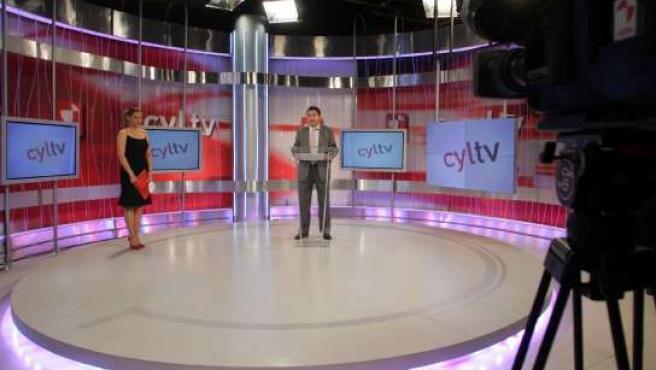 Un plató de Castilla y León Televisión.