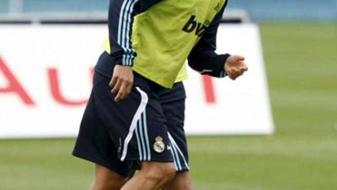 Raúl y Cristiano Ronaldo, entrenando.