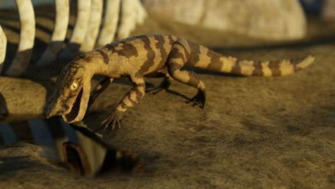 Recreación de una de las especies de cocodrilos que vivieron hace cien millones de años.