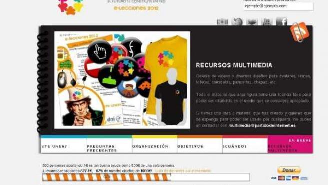 Imagen de la página web del Partido de Internet.