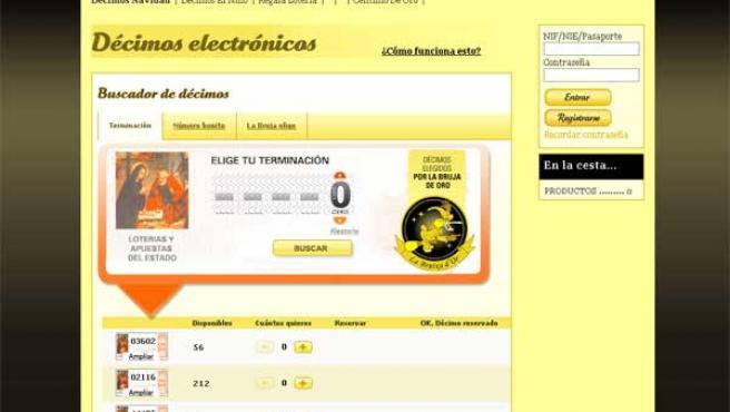 Detalle de la página web de una administración que vende Lotería de Navidad a través de Internet.