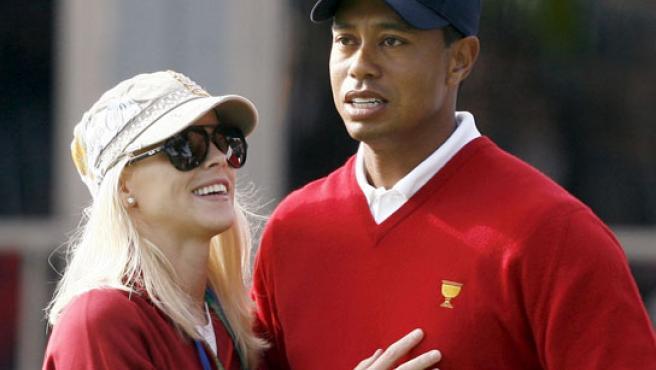 Tiger Woods y su mujer, Elin Nordegren.