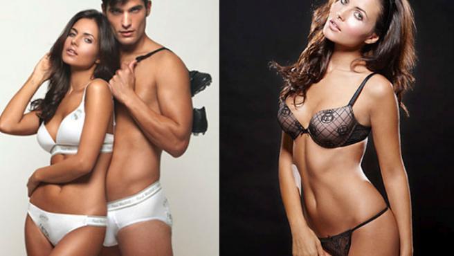 Dos modelos lucen la lencería del Real Madrid.