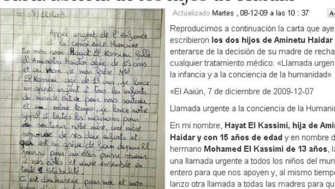 Hayat y Mohamed han escrito una carta por la decisión de su madre de rechazar los tratamientos médicos.