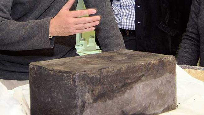 La cápsula de plomo, en el Museo Regional.
