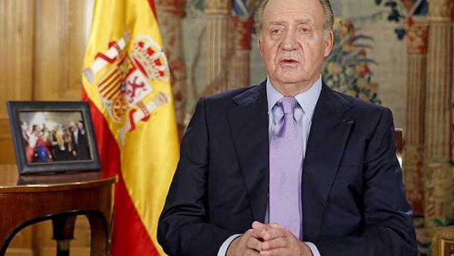Juan Carlos I, durante su tradicional discurso navideño.