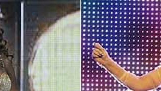 Las cantantes Beyoncé y Lady Gaga.