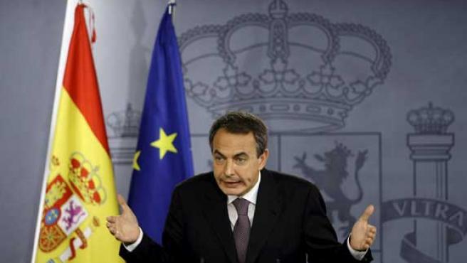 José Luis Rodríguez Zapatero, durante una rueda de prensa.