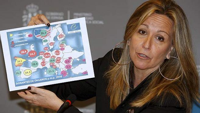 La ministra de Sanidad, Trinidad Jiménez , presenta los últimos datos de donaciones y trasplantes de órganos en España.