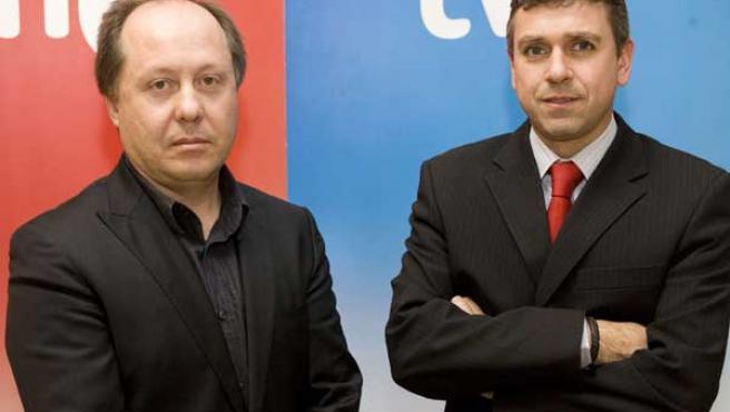 Benigno Moreno (izqda.) y Santiago González posan durante el nombramiento de sus nuevos cargos.
