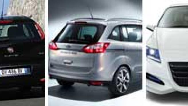 De izquierda a derecha, los nuevos modelos de las marcas Ferrari, Fiat, Ford, Honda y Hyundai.