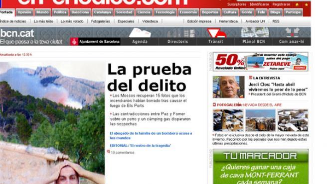 El Periódico de Catalunya publica este miércoles la fotografía de uno de los detenidos de espaldas a las llamas.