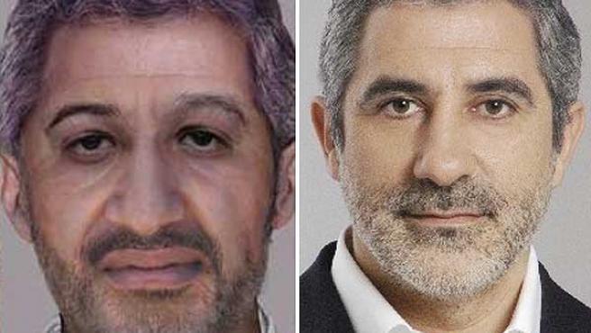 A la izquierda, retrato robot de Bin Laden publicado por el FBI. A la derecha, Gaspar Llamazares en 2004.