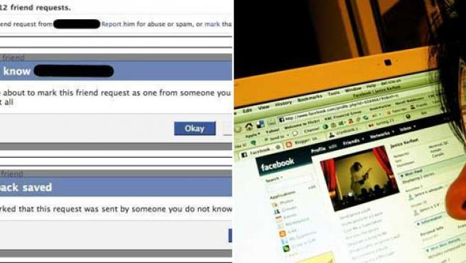 A la izquierda, la opción desplegada que permitirá rechazar y bloquear solicitudes de amistad.