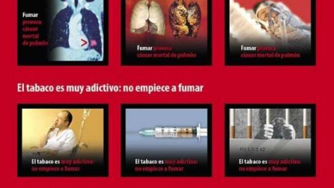 Algunas de las nuevas imágenes que se verán en las cajetillas de tabaco.