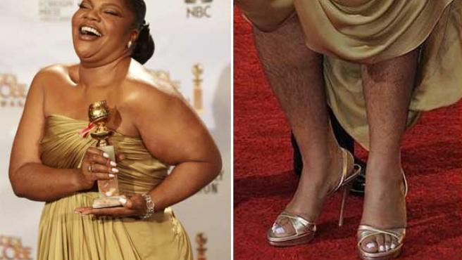 La actriz Mo'nique posa con su Globo de Oro (a la izquieda) y detalle de sus piernas.