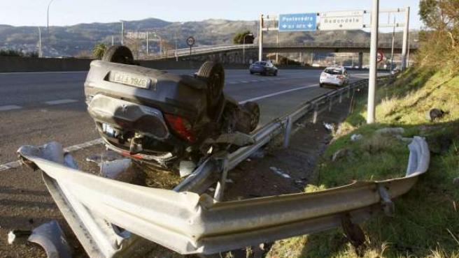 Accidente de tráfico ocurrido en el km 149 de la AP-6 (A Coruña).