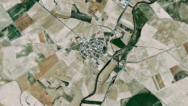 Una imagen aérea de Santervás de Campos y sus terrenos colindantes.