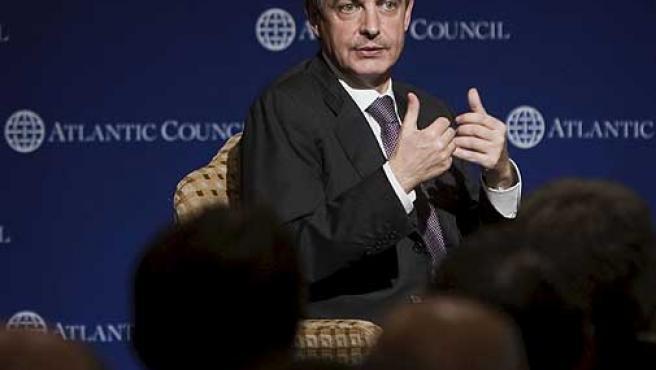 El presidente del Gobierno, José Luis Rodríguez Zapatero, durante su intervención hoy en el Consejo Atlántinco.