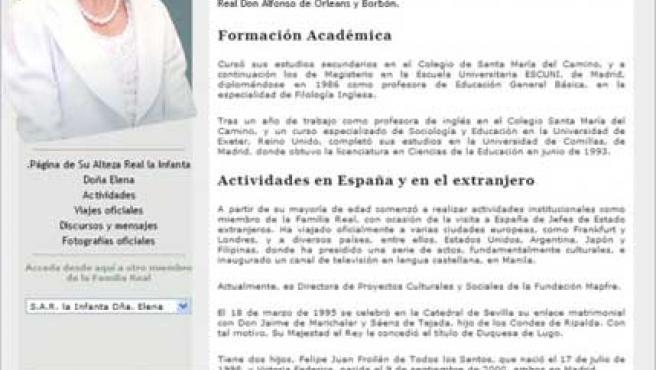 Biografía de Doña Elena que aparece en la página web de la Casa Real.