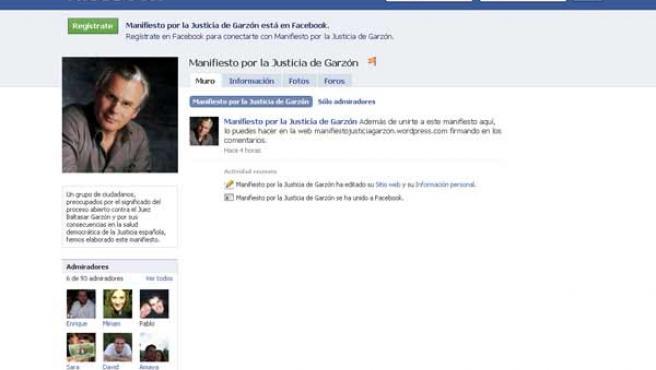 Captura del grupo de apoyo al juez Garzón creado en Facebook.