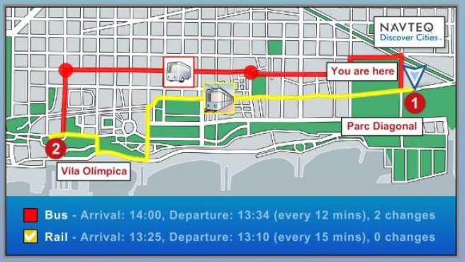 Imagen del GPS para peatones Discover Cities de NAVTEQ.