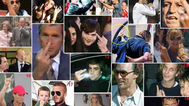 Los fotógrafos han captado numerosos gestos obscenos de los famosos.