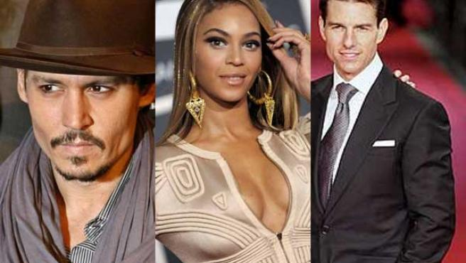 Johnny Depp, Beyoncé y Tom Cruise.