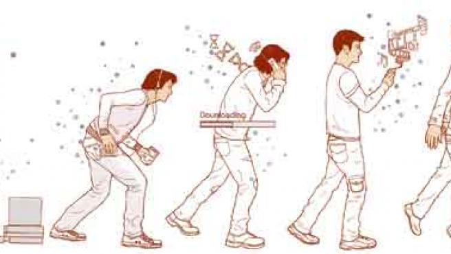 La evolución del hombre tecnológico, desde el 'Homo Spectrum', pasando por el 'Homo Consola', el 'Homo Internet' y el 'Homo Gadget' hasta llegar al 'Homo X', el futuro.