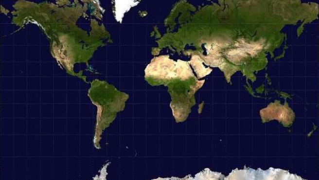 Mapa del mundo según la proyección Mercator.