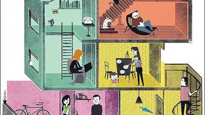 Ilustración que representa una comunidad de vecinos con los diferentes modelos de familia que se han creado en la última década.