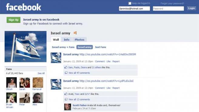 Página de Facebook del ejército israelí.