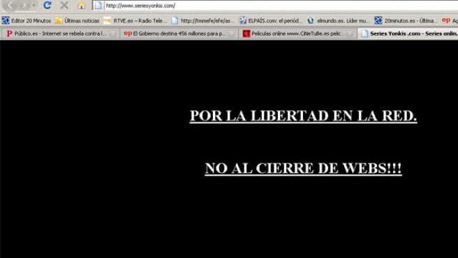La web de Series Yonkis, cerrada en protesta por la aprobación de la 'Ley Sinde'.