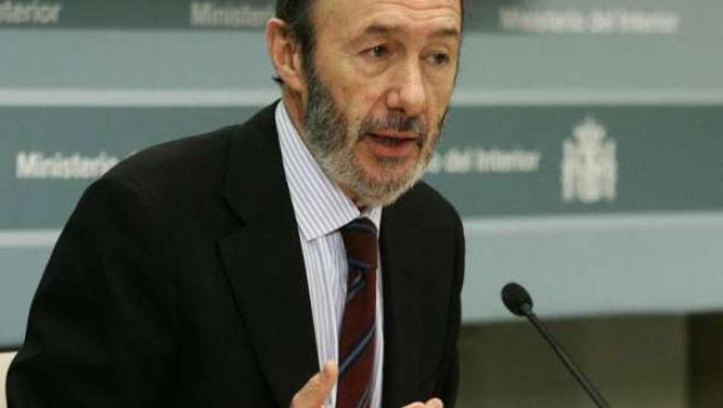 El ministro del Interior, Alfredo Pérez Rubalcaba.