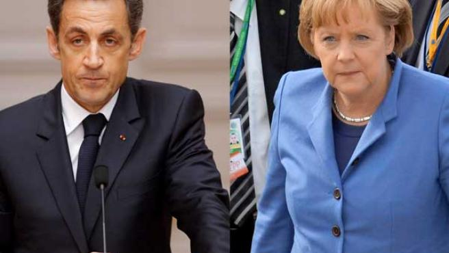 El presidente francés Nicolas Sarkozy y la canciller alemana, Angela Merkel