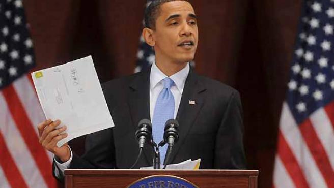 El presidente de Estados Unidos, Barack Obama, habla en el Capitolio de Washington.