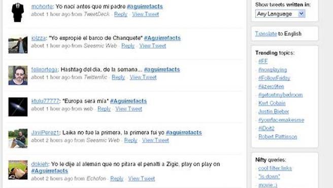 Algunos de los comentarios de los usuarios de Twitter sobre Aguirre.