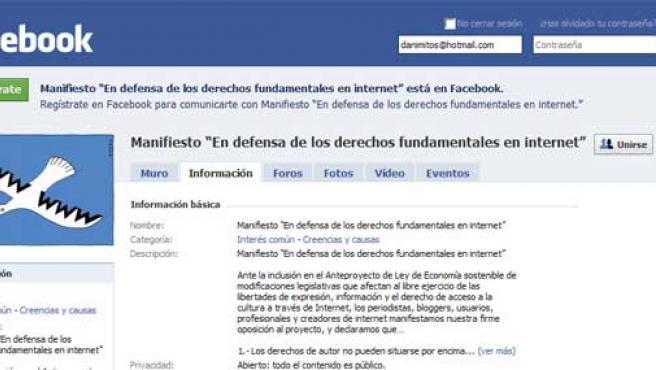 """El manifiesto """"En defensa de los derechos fundamentales en internet"""" tiene su hueco en Facebook."""