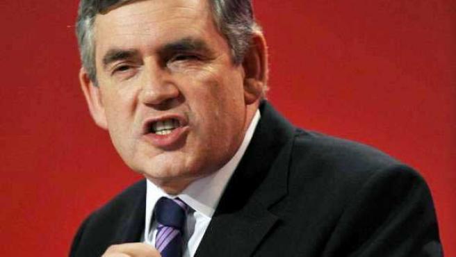 El primer ministro Gordon Brown, en un acto de campaña.