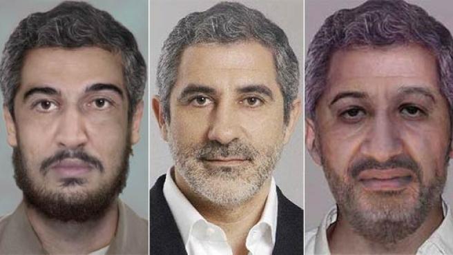 La foto de Gaspar Llamazares (centro), flanqueada por los retratos robot de Bin Laden (derecha) y Atiyah Abd al-Rahman (izquierda), en parte formados con sus rasgos.