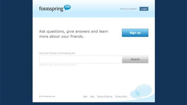 Página principal de Formspring.