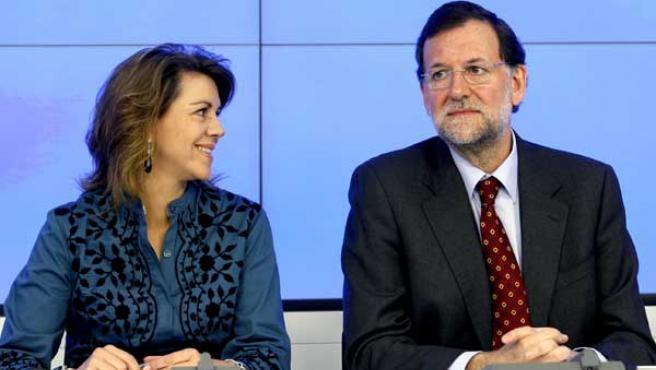 El líder del PP, Mariano Rajoy, y la secretaria general del partido, María Dolores de Cospedal, durante la reunión mensual del Comité Ejecutivo Nacional.
